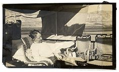 Painter Mary Cassat dozing on a houseboat along the Nile River in Egypt.  Citation: Mary Cassatt on a houseboat, 1911 / unidentified photographer. Frederick A. Sweet research material on Mary Cassatt and James A. M...