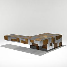 Paul Evans; Burl and Chrome 'Cityscape' Coffee Table for Directional. 1970s.