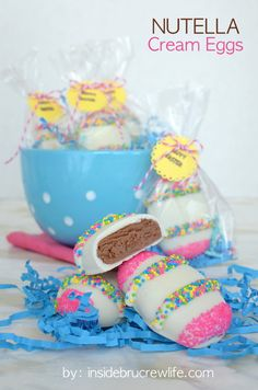 Nutella Cream Eggs - Nutella, white chocolate, and sprinkles make these a fun Easter egg to make and eat.