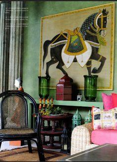 - wall colors, lar boland, emerald green, room colors, art, ador room, design vignett, live color, interior decor