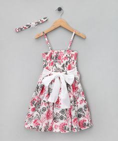 Take a look at this Pink & Gray Floral Shirred Dress & Headband - Girls by LoFff on #zulily today!