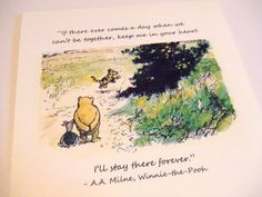 Keep Me In Your Heart - Winnie the Pooh Quote - Classic Piglet and Pooh Note Card on Etsy, $3.50
