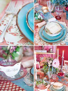 interior design, vintage designs, table decorations, vintag detail, paper birds, tabl decor, spring tabl, crazi color, parti