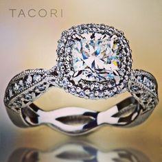 Custom #Tacori beauty with TWO rows of spotlight diamonds to help the cushion-cut center diamond to fully #bloom. Style No. 2578 RD 6.5 (SO 0124933). Via Tacori.