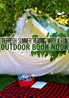 Read outside this summer. Simple outdoor book nook.