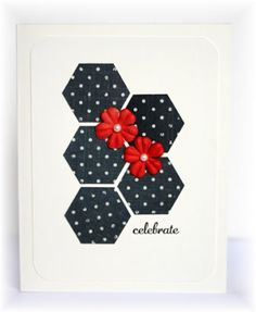 lhandmade card from Scrappin' and Stampin' in GJ ... black and white with pops of red ... luv the graphic look of the five punched hexagons topped with red Prima flowers ... Stampin' Up!