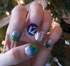 My nails for the 12-22-13 Seahawk game!! GO HAWKS!!! Lost