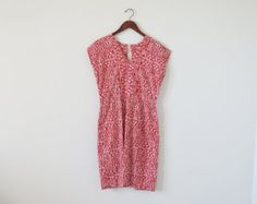 80s tribal dress / red and white dress / african print dress