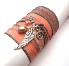 #etsyfollow #Hand Dyed #Silk Ribbon Bracelet #Peace Sign #Angel Wing #yoga jewelry #wrapped,  #wrap around #wrist wrap
