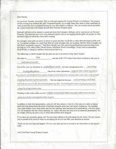 Young Women in Excellence parent letter