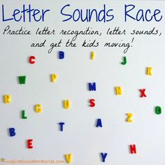 Letter Sounds Race - Practice letter recognition and letter sounds with a fun game that gets kids moving -- love this idea -- use after we track alphabet -- give everyone a letter, call out a sound and that child goes to put their letter on the alphabet chart!