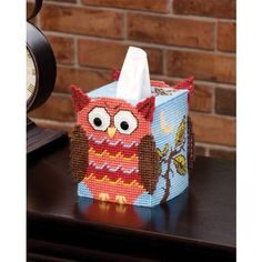 Free Easter Plastic Canvas Patterns | Mary Maxim - Owl Tissue Box Cover Plastic Canvas Kit