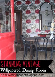 gorgeous wallpapered vintage dining room, red black white, wood