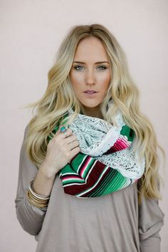Mexican Blanket Scarf, Serape, Infinity, Scarves, Boho Shawl, Upcycled, Lace Loops with Scalloped Eyelet Trim - Colorful(SCF-106)