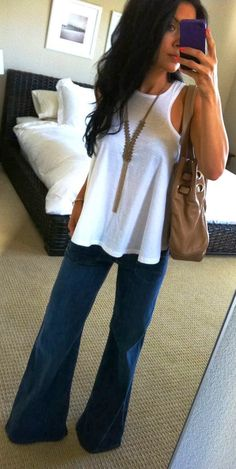 Casual outfits with denim and white top #spring #outfit
