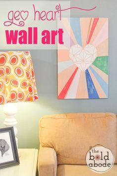 Super Cute Geometric Heart Wall Art with Americana Decor Chalky Finish paint!  @theboldabode