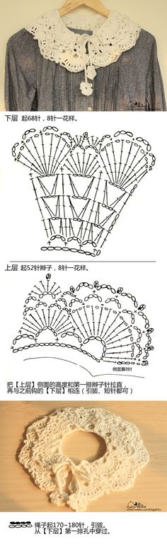 super nice lacy collar - crochet diagrams