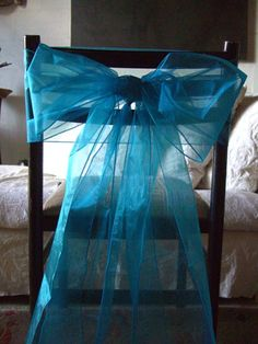 "Turquoise Blue Organza Chair Sashes 8""  x 3 yds   10  sashes for $11  ($1.10 each)"