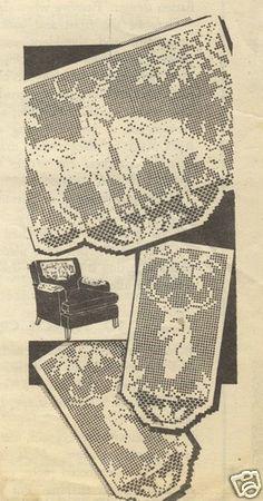 Deer pattern - chair set in filet crochet