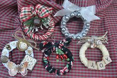 Mini-Wreath Ornaments made from shower curtain rings! Tutorial on Site.