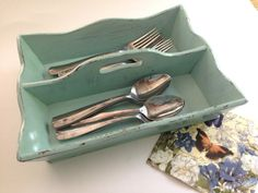 Shabby chic aqua distressed wooden silverware by PillowtasticPlus, $24.00
