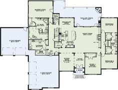 Wouldn't need the garages but love this idea floorplan is spot on.   European Style House Plans - 4076 Square Foot Home, 1 Story, 3 Bedroom and 3 3 Bath, 4 Garage Stalls by Monster House Plans - Plan 12-1282