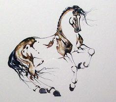 sketch, equin art, dope tattoo, giraff, watercolour hors