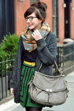 skirt, fashion, cloth, color, outfit, quirky style, kelly green, bang, belts