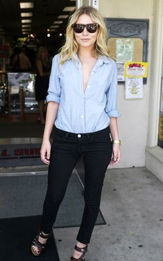 Emulate Ashley Olsen and tuck in your denim shirt into a pair of black jeans. Undo the first few buttons for added sexiness.