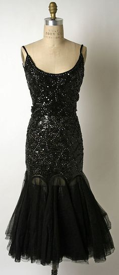 Sequined black silk evening dress, by Norman Norell, American, 1949.