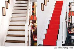 paint red, paint stair, country houses, basement stairs, red runner, stair runners, painted stairs, halls4jpg 400249, entranc hall