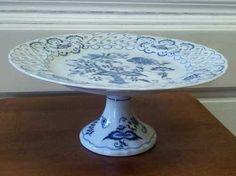 Blue Danube pedestal cake plate pierced onion | eBay