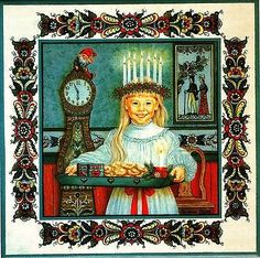 "Swedish Trivet Tile ""St. Lucia Girl"" by Suzanne Toftey w. Recipie Sankta Lucia"