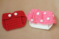 Mickey and Minnie Mouse Inspired Crochet Baby Diaper Covers.  A perfect boy and girl twins baby shower gift idea.