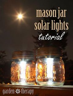 Mason jar solar lights..... this would look great in my backyard!