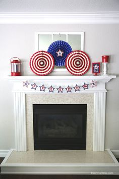 Forth of July mantel and free printables