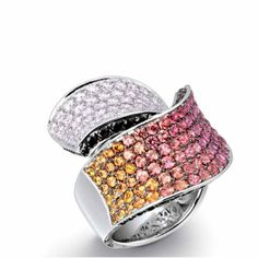 Ring in 18k gold and gemstones by B K Jewellery