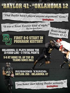 #Baylor sent shockwaves through the college football world with its 41-12 win over No.10 Oklahoma. #SicEm
