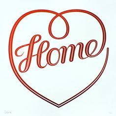 Seb Lester. Home - Limited edition print (white ink on ruby red art paper).