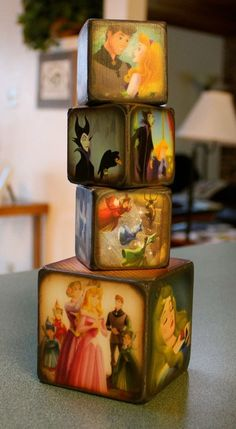 Sleeping Beauty Blocks  I love these! They would make great decoration in a little girls room! This is my fav disney movie!