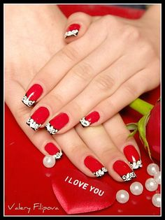 Red black and white #french #manicure idea #nails, #nailart