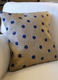 burlap pillow with polka dots