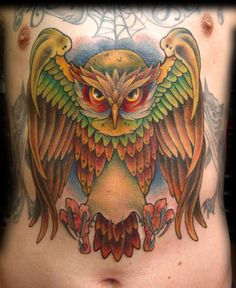 Owl on chest/stomach tattoo by Melissa Fusco of Club Tattoo Arizona