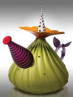 Garden Variety Teapot in Olive: Bob Kliss and Laurie Kliss: Art Glass Teapot - Artful Home