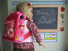 doll clothes, season, school supplies, backpack, pencil cases, doll stuff, ag dolls, back to school, american girls