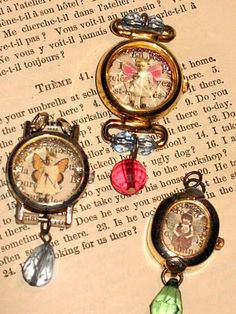Charms made from old watches.