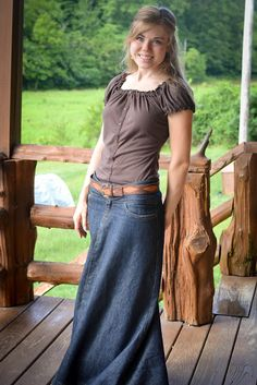 one long denim skirt