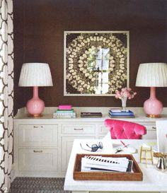lamps, decor, office storage, color, hous, homes, pink accent, white furniture, home offices