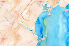 Ocean Park watercolor 1,500 x 1,000px 43.4996, -70.3868