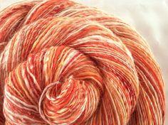 Fingering Yarn - FRUIT n YOGHURT - Handspun. Luxury Blend of Wools, Hand Dyed Silk, Linen, Bamboo. Orange, White, Yellow. 260 yards, 2.47 oz